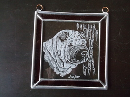 Shar Pei- New design, Hand engraved and signed, designer panel by Ingrid... - $35.00