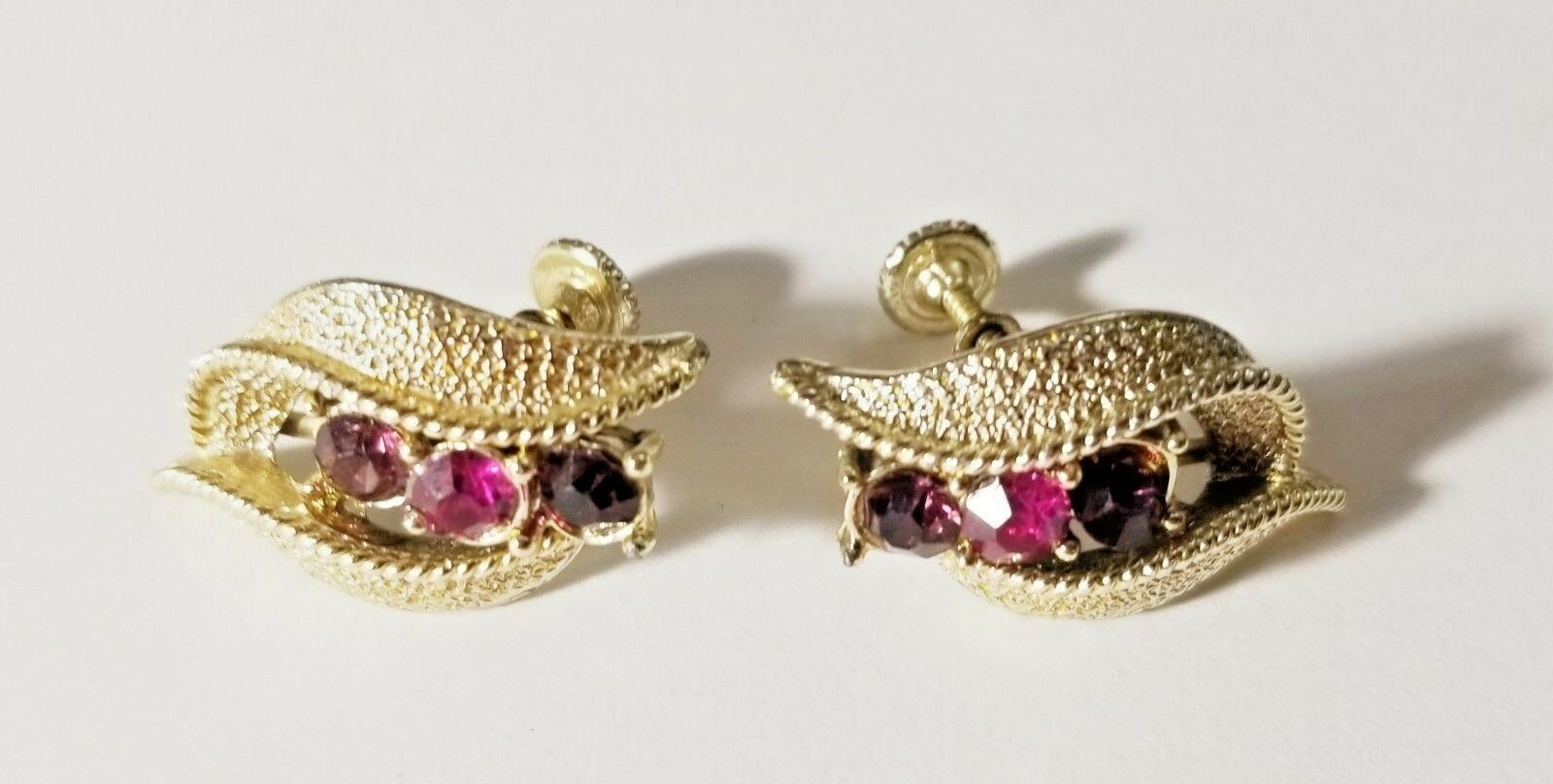 VTG Coro Silver Tone Screw Back Earrings Amethyst Lavender Purple Rhinestones