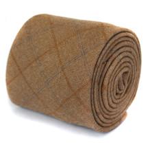 Frederick Thomas mens 100% wool slim tie in light brown check tweed FT1940 - $18.37