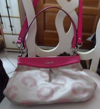 Coach Medium Signature shoulder handbag, Beige With hot pink leather trim - $65.00