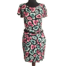 Asos 6 floral dress with black belt pink green poppy poppies - $24.00