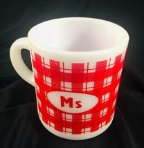 "Vintage White Milk Glass Coffee CUP MUG "" Ms "" Red Plaid Checkered - $12.62"