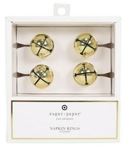 Sugar Paper Jingle Bell Napkin Rings Holders, Set of 4 – Material: Metal NEW
