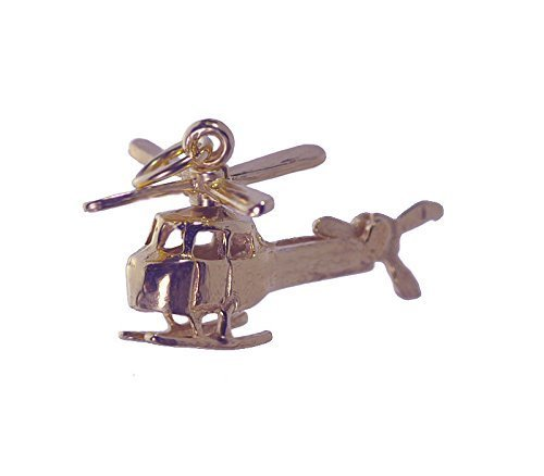 18K Rose Gold pltd rotorcraft helicopter Movable rotor tail blade Charm Jewelry - $25.29