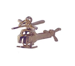 18K Rose Gold pltd rotorcraft helicopter Movable rotor tail blade Charm ... - $25.29