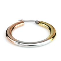 Sleek Polished Tri-Color Silver, Gold & Rose Tone Hoop Earrings- United Elegance image 4