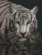 Dimensions White Tiger Counted Cross Stitch Kit, 14 Count Black Aida, 11... - $17.44