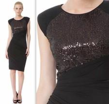 $148 Anne Klein Black Sequined Stretch Jersey Dress 4 - $58.50
