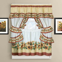 "Black Eyed Susan Kitchen Curtain Cottage Set 36""L x 56""W - $17.19"