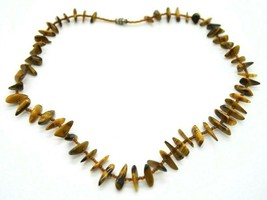 Brown Tigers Eye Polished Stone Brown Glass Bead Choker Necklace - $39.59