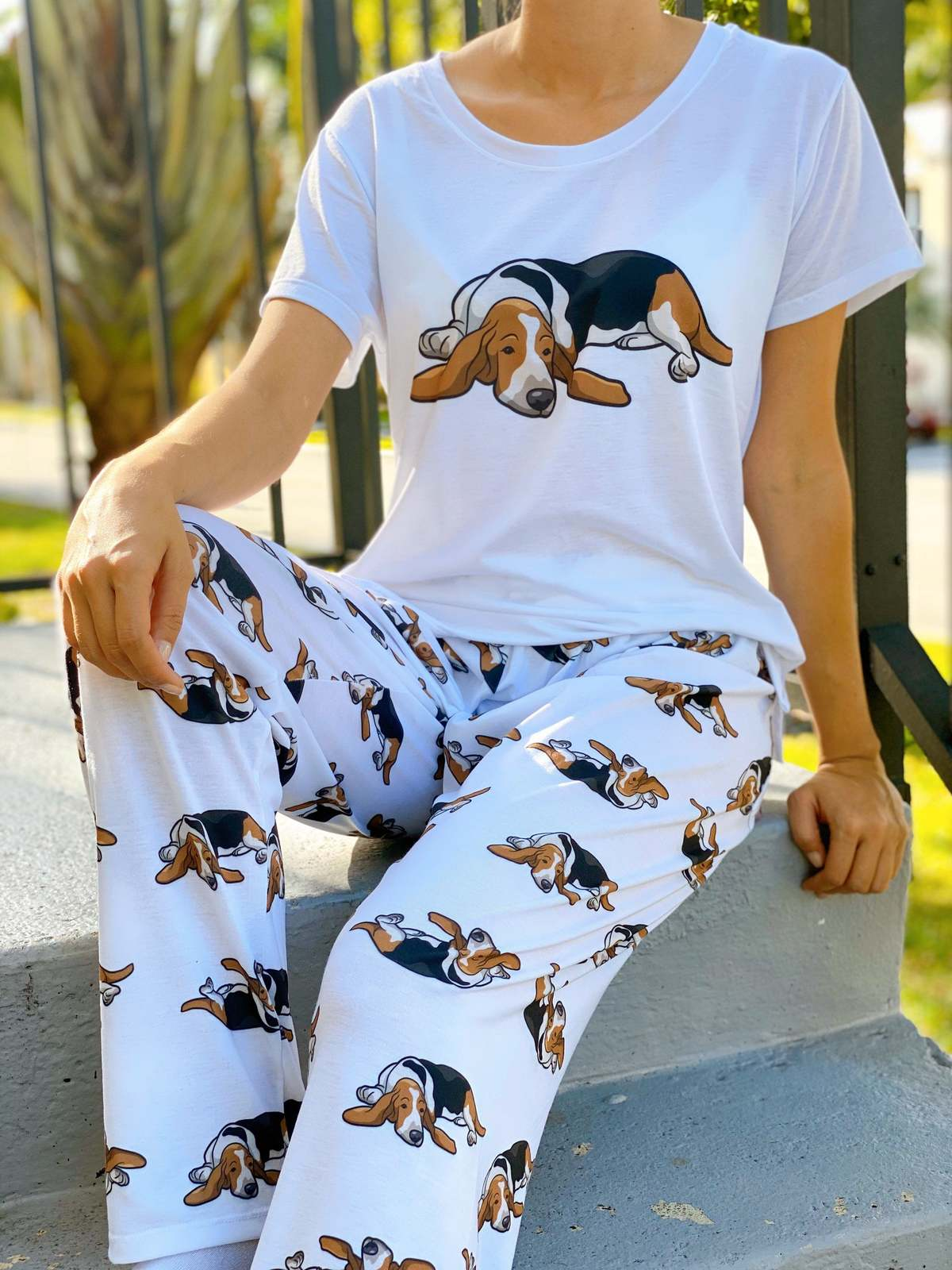 Primary image for Dog Basset Hound pajama set with pants for women
