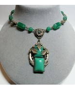 Vintage Molded Green Chrysoprase Glass 1920 1930s Art Deco Leaf Pendant ... - $91.08