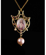 1950's Religious necklace - art nouveau style - Jesus bubble glass - 2 s... - $75.00