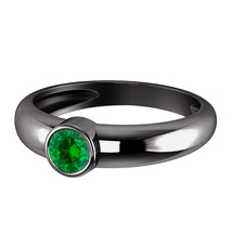 Round Cut Green Sapphire 14k Black Gold Plated 925 Silver Solitaire Wedd... - $68.70