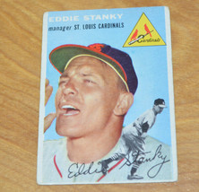 Vintage 1954 TOPPS EDDIE STANKY Baseball Card #38 - $6.24