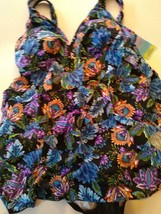 Swim Solutions V Neck Multi Ruffle Swim Dress Size 10 image 1