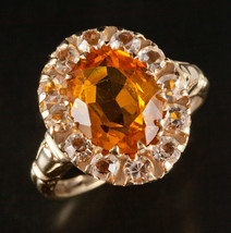 Vintage 1950's 10k Yellow Gold Oval Citrine & Topaz Halo Style Ring 3.17ctw - $470.00