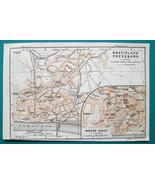 SLOVAKIA Bratislava City Plan & Danube Environs - 1931 BAEDEKER MAP - $12.60