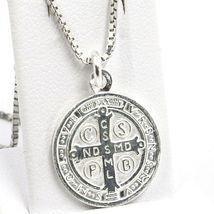 Cadena Veneciano 50 cm, Medalla St. Benedicto, Cruz, Plata 925 , Collar image 3