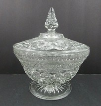 Large Clear Cut Pressed Glass Pedestal Covered Candy Dish Tree Top Design - $21.24