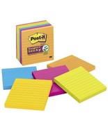 550 Ruled Note Pads 4 x 4 Lined Self Stick Colored Paper School Office S... - $24.74