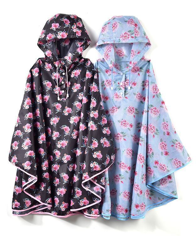 Floral Design Rain Poncho - 2 Colors - One Size - PVC