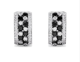Effy Jewelry Stud Earrings In 14k White Gold Plated 925 Silver Round Cut... - $34.73