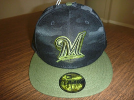reputable site b23a8 7f99f MILWAUKEE BREWERS NEW ERA 59FIFTY 2018 MEMORIAL DAY ON FIELD BLACK HAT S..