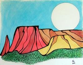 Original Drawing  watercolor wall art no frame cartoon mountains monumen... - $21.78