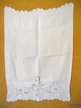 VINTAGE WHITE COTTON TEA TOWEL W/SCALLOPED EDGING, needs minor repair - $5.99