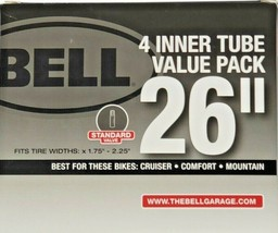 """Bell Sports 26"""" Standard Schrader Valve Inner Tube 1.75-2.25"""" Width - 4 Pack - $19.79"""