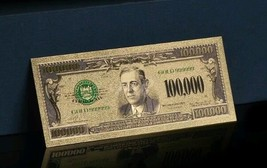 <UNC. MINT 1928> GOLD $100,000 Rep.* Banknote W/COA~RAISED DETAIL~U.S SELL - $10.63