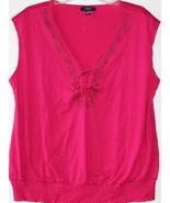 Chaps by Ralph Lauren Womens Plus Embellished Fuschia Pink Smock Top 1X ... - $29.99