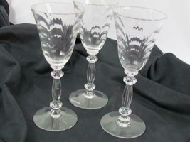 Lot of 3 Cordial Liqueur Blown Glass Double Notched Stem Ripple Pattern ... - $75.99
