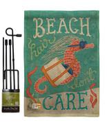 Seahorse Beach Hair Burlap - Impressions Decorative Metal Garden Pole Flag Set G - $33.97