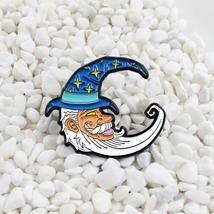 White beard grandfather Wearing a witch hat crescent moon pin lapel brooch - $10.99