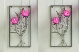 Floral Wall Candle Wall Sconce w/ 2 Magenta Glass Candle Holders Set of 2 - $55.49