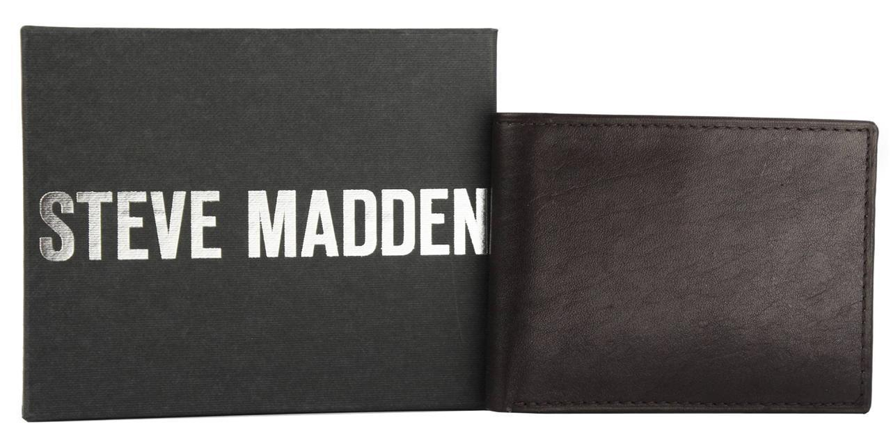 NEW STEVE MADDEN MEN'S PREMIUM LEATHER CREDIT CARD ID WALLET BROWN N80003/01