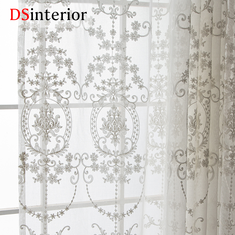 DSinterior-White-Embroidered-Curtains-Sheer-Curtains-for-Living-Room-Window, used for sale  USA