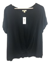 Style & Co Top 2X Black Twist Front Blouse Shirt Rayon Spandex NWT LL45 - $11.77
