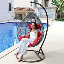 Island Gale Hanging Basket Chair Outdoor Front Porch Furniture with Stan... - $569.96
