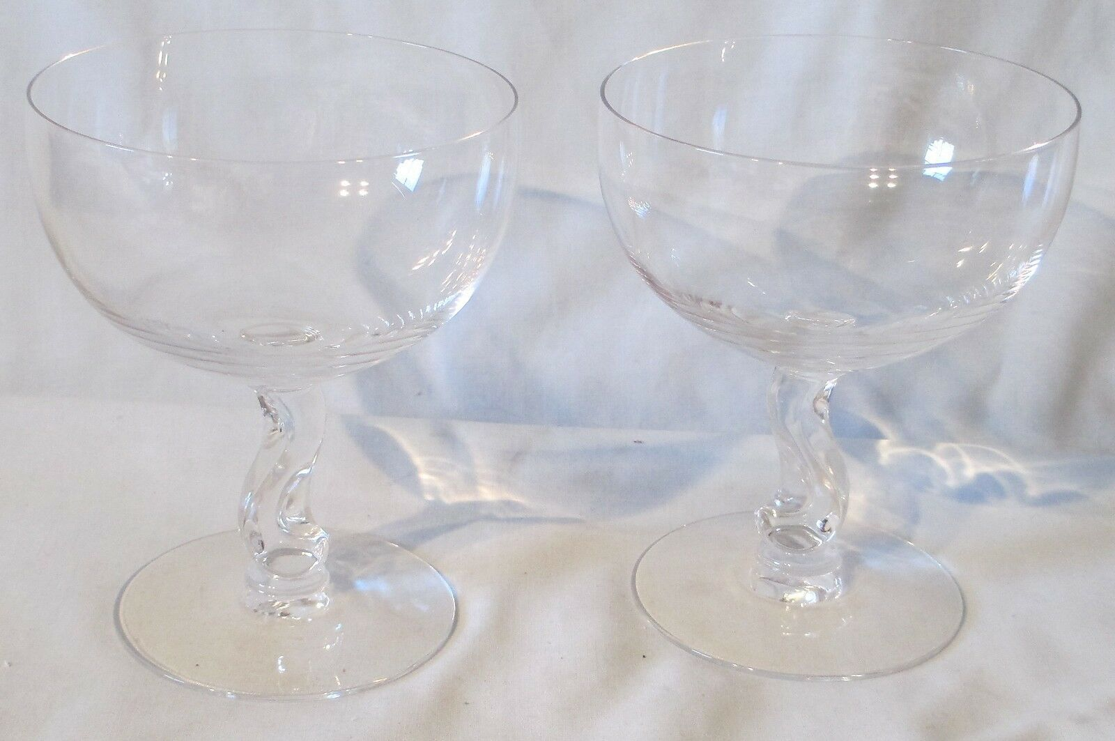 "Primary image for Fostoria Crystal Contour Champagne Glass Tall Sherbet Goblet Stem 4 3/8"" Pair"