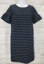 LOFT Ann Taylor Shift Dress Sz XS Women Blue White Striped Bell Sleeve C... - $16.83