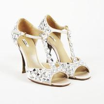 Miu Miu Rhinestone Leather T-Strap Sandals SZ 37 - $305.00