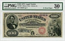 FR. 169 1875 $100 Legal Tender PMG VF30 ex: Pogue (Minor Restoration Sma... - $48,694.00