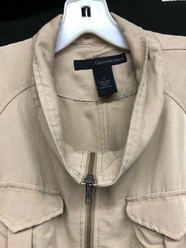 Womens Calvin Klein Sz M Khaki Safari Cargo Jacket Drawstring Roll Tab Sleeves
