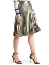 Gap Metallic Gold A-line Pleat Skirt, Nylon Blend, Size 14 (fits like 12... - £36.16 GBP
