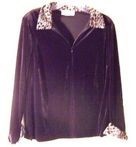Ronni Nicole II Velvet Top with Leopard Print Accents NWOT Sz 14W - $25.64
