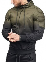 Sports Full Zipper Gradient Print Shoulder(ARMY GREEN M) - $20.54