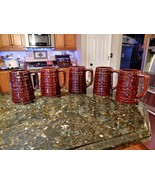 Lot 5 Vintage USA Marcrest DAISY DOT Tankards Mugs Cups Steins BROWN 5 1... - $59.90